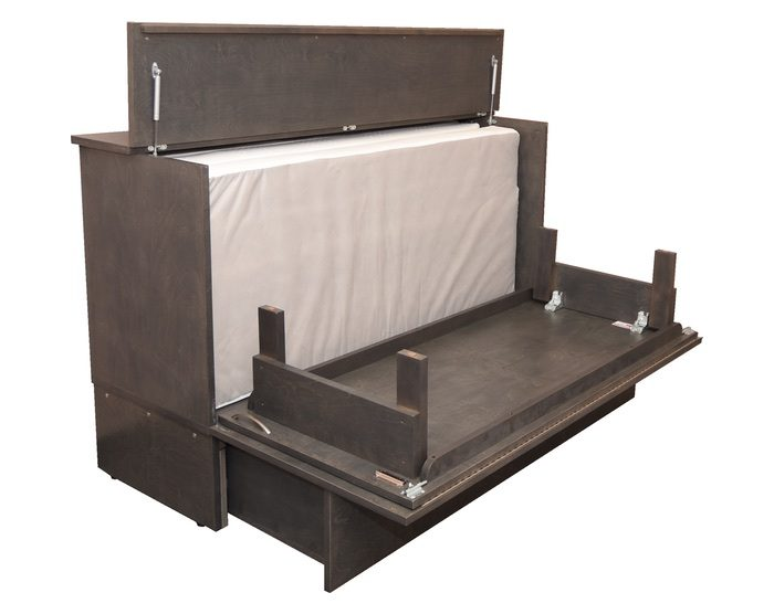 opened cabinet bed
